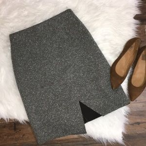 Topshop marled gray foam uneven pencil skirt